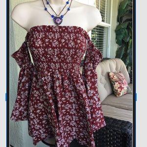 Women's  S off shoulder boho gypsy dress or top